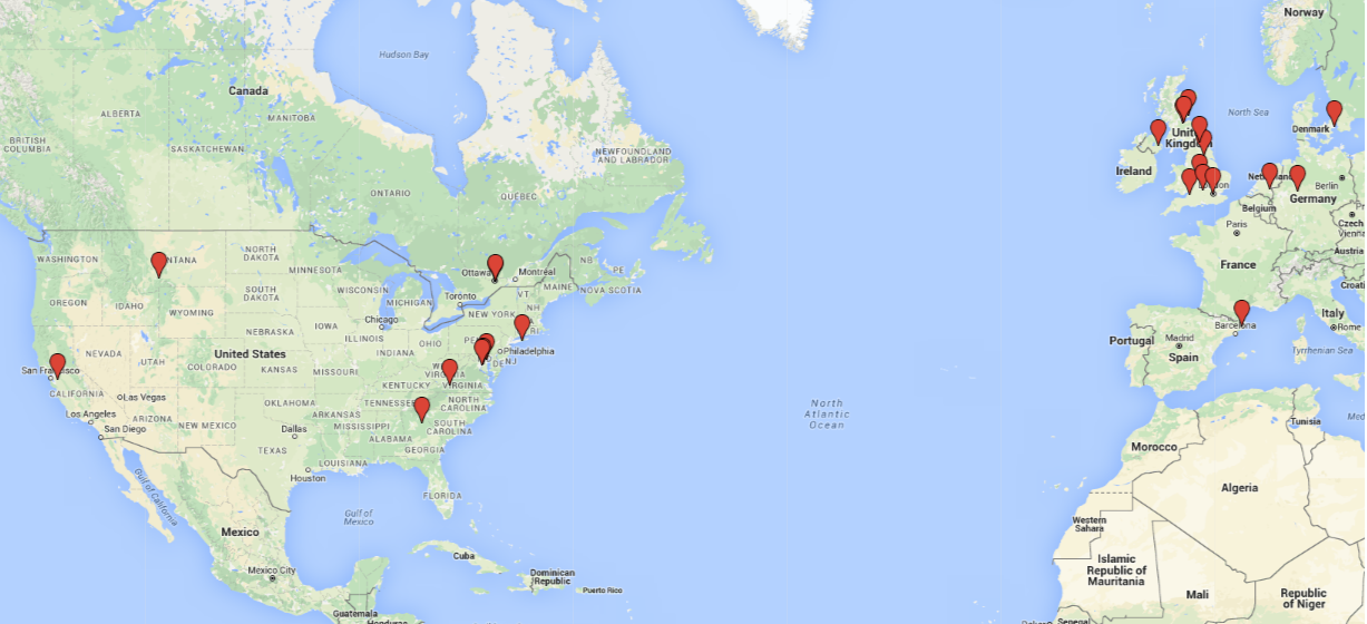 A map of the locations of our collaborators