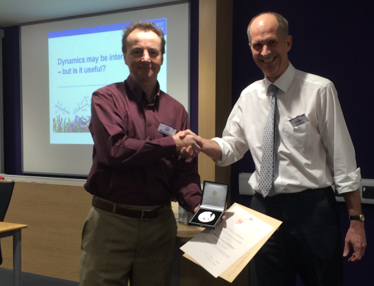 Former Faraday division president Prof. Mike Ashfold FRS presented Prof. McKendrick with the Chemical Dynamics Award medal